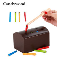Candywood Wooden Catch Carterpillar Toys For Baby Kids Educational Children Early Learnning Parent Child Interaction Toys