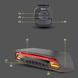 Image 4 - חכם בלם אופניים אורות Meilan X5 USB נטענת אופני לייזר אור LED להפוך אות טאיליט אלחוטי מרחוק שליטה אחורי La