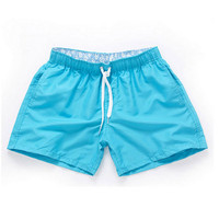 Sky blue-Men Beach Sport Swim Trunks Surf Swimwear Quick Drying Briefs