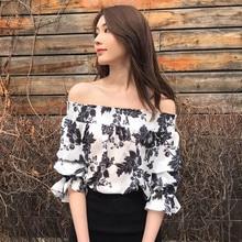 White Print Women Chiffon Blouse 2019 Slash Neck Tops Clothes Fashionable Sweet Style Clothing Slim Streetwear Casual Hot Sale fashionable slash neck print flounce blouse for women