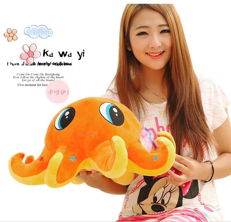 Grand joli jouet de pieuvre orange créatif mignon peluche pieuvre poupée cadeau d'anniversaire environ 60 cm
