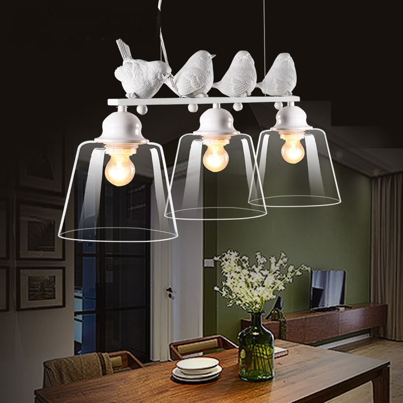 Nordic American modern minimalist creative led Pendant Lights living room dining glass three head pastoral bird Pendant lamps nordic modern 10 head pendant light creative steel spider lamps unfoldable living room dining room post modern toolery led lamp page 1