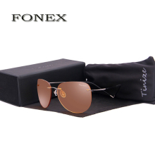 FONEX New Fashion Men Night-VisionTitanium Sunglasses Women Rimless Pilot Night Vision Driving Sun Glasses With Box 76126-2