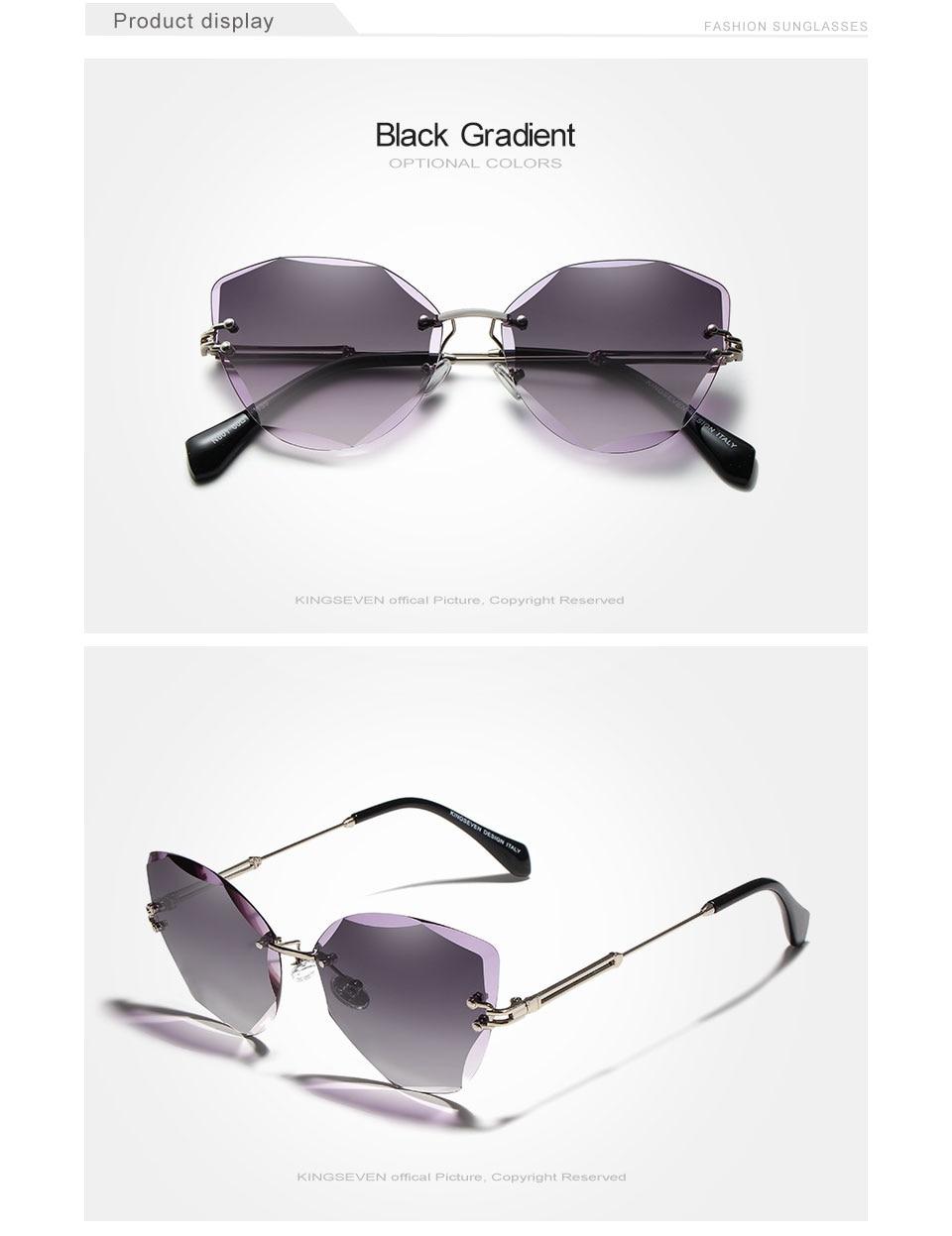 KINGSEVEN DESIGN Fashion Lady Sun glasses 2019 Rimless Women Sunglasses Vintage Alloy Frame Classic Brand Designer Shades Oculo