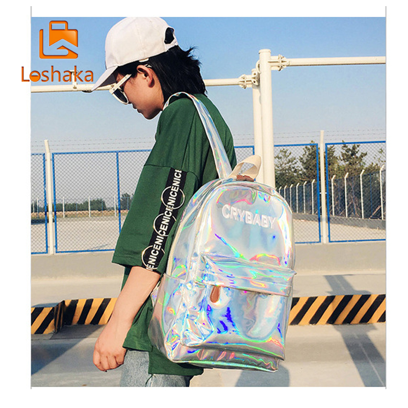 Loshaka Hip-hop Style Embroidery Letters Crybaby Hologram Laser Backpack Women Soft Pu Leather Backpack School Bags For Girls #5