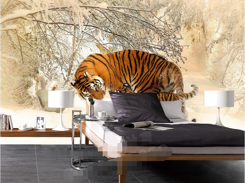WDBH 3d room wallpaper custom photo mural picture east northern tiger winter snow painting home decor 3d wall murals wallpaper in Wallpapers from Home Improvement
