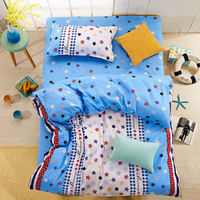 Hundred cotton,t hree-piece suit (a quilt cover,a  sheet, a pillowcases) Suitable for 1.5 meters bed blue white stars