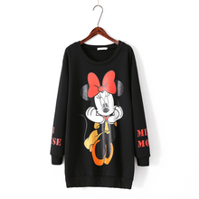 2017 Women 5XL Autumn Plus Size Hoodies Mickey Printed Sweatershirt Casual Long Sleeve O-Neck Pullovers Female Tracksuit Coat