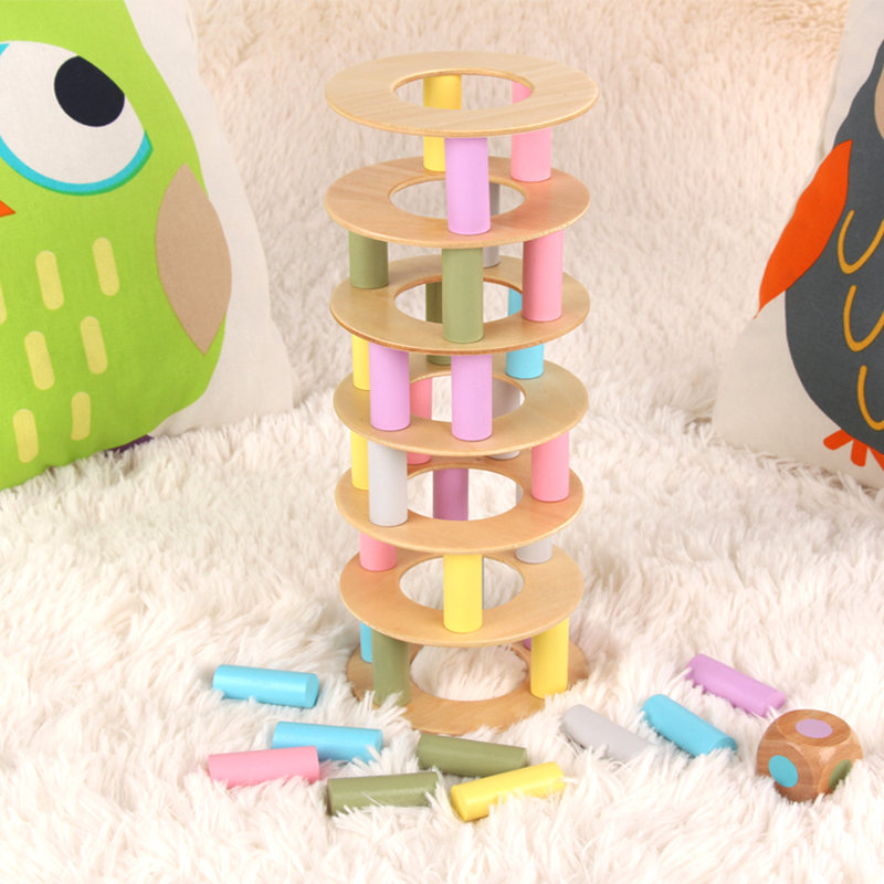 Pisa Tower Jenga Macaroon Color Building Blocks Wooden Toys For kids Dice Balance Desktop Game Baby Montessori Educational Gift