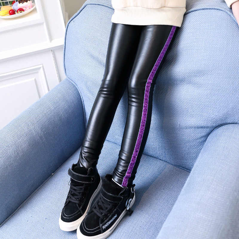 a13fd08c0 ... Kids Girls Leather Pants Winter Fleece Trousers 2019 Children Girls  Leggings for Winter Fleece Lined Pants ...