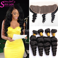 Brazilian Loose Wave With Ear To Ear 13X4 Lace Frontal Closure With Loose Wave Brazilian Virgin Hair Weave Bundles With Closure