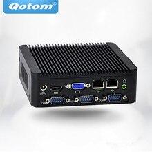OEM/ODM безвентиляторный мини-ПК Qotom Q180P/Q190P с процессором Celeron J1800/J1900 на плате 1080P, 4 последовательных порта, двойной Lan мультимедийный плеер