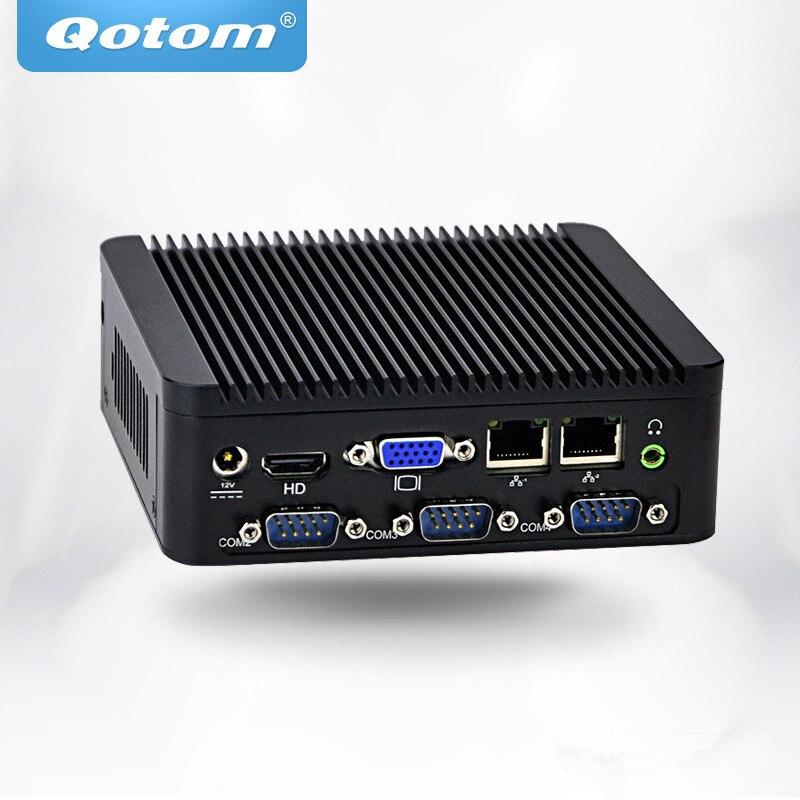 OEM/ODM Fanless Mini Pc Qotom Q180P/Q190P With  Celeron J1800/J1900 On Board 1080P 4 Serial Port  Dual Lan Multimedia Player
