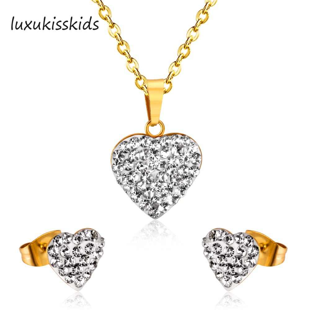 LUXUKISSKIDS Gold heart-shaped Jewelry white mud Stainless Steel Necklace Earring Sets Wedding jewelry gift