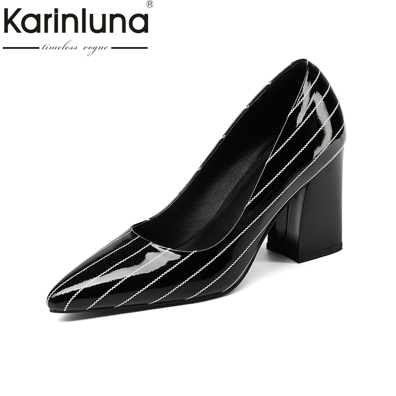 KarinLuna genuine leather 2018 cow leather slip on square high Heels women shoes woman black Pumps Shoes size 34-39 lapolaka 2018 cow leather rivet suqare low heels women shoes woman slip on pointed toe pumps woman shoes size 34 39