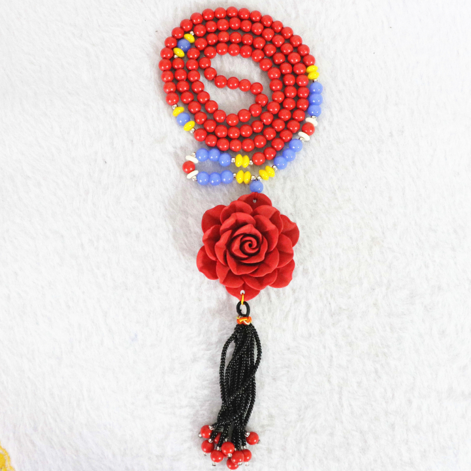 High grade jewelry 6mm round synthetic red cinnabar beads 18x49mm flower pendant hot sell handmade long chain nacklace 39 B963