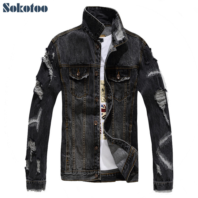 Sokotoo Men S Casual Holes Ripped Denim Jacket Slim Gray Black Patch
