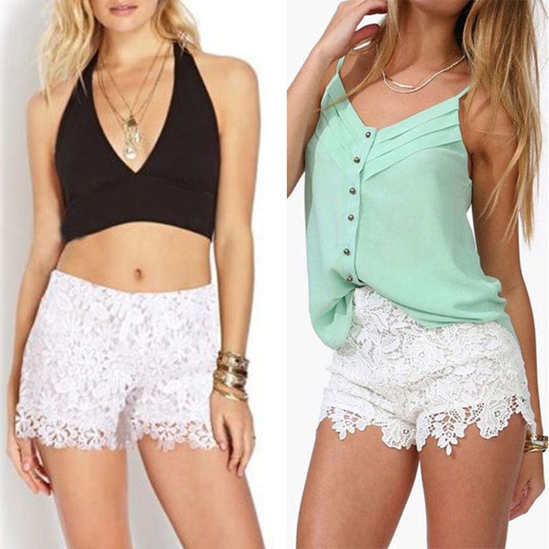 2018 New Lace   Shorts   High Waist Elastic Hot   Shorts   Purt Color $4.29/Piece Hot Summer Hot   Shorts   Sexy Women Outwear