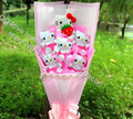 International Express 6pcs/doll Cartoon bouquets of flowers baby doll for Christmas birthday gifts on valentine's day gift