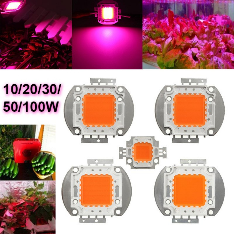 Copper LED Chip Full Spectrum Grow Light Lamp Beads for Indoor Plant Growth in 10/20/30/50/100W 100w 7000lm 525nm 100 led green light lamp module 10 series and 10 in parallel 30 34v