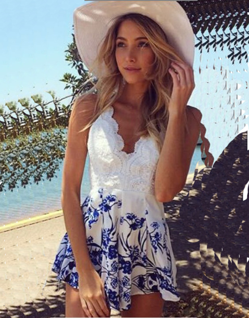 Beautiful Fashion Blue and White Lace Jumpsuit Sexy Women Open Back Romper V Neck Playsuit