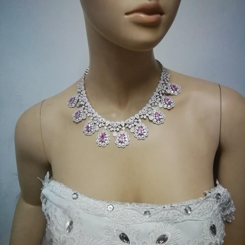 2019 nouvelle mode luruxy rose CZ zircon collier boucle d'oreille bracelet anneau ensemble de bijoux de mariage mariée banquet dressing ensemble de bijoux - 6
