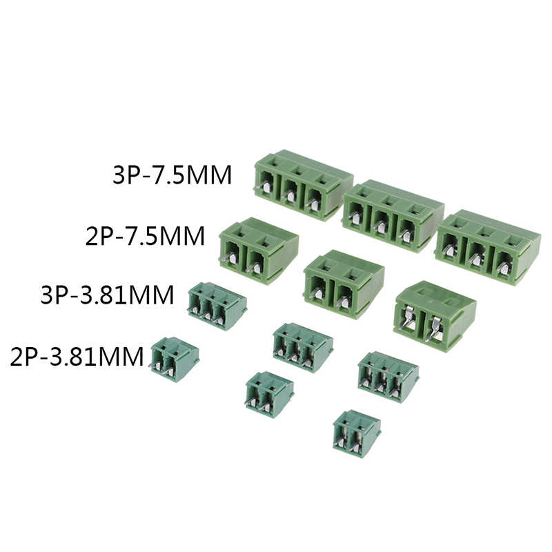 10PCS PCB Screw Terminal Blocks Conenctor 3.81/7.5mm Pitch 2P/3P Straight Angle Terminal Block