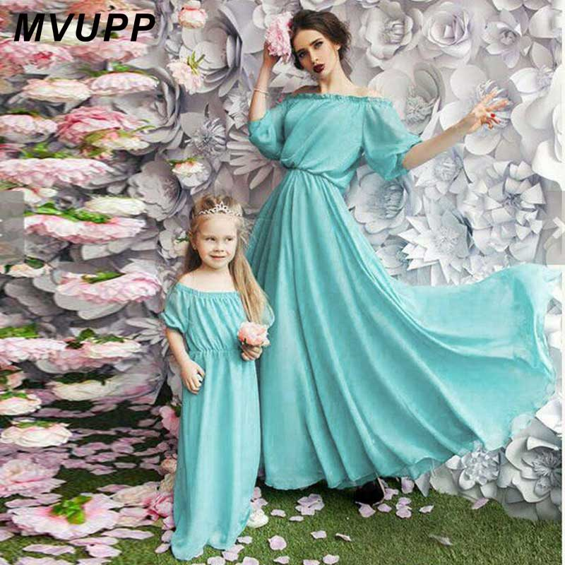 MVUPP mother daughter dresses family matching outfits 6 color bohemian strapless mommy and me baby clothes beach evening dress bohemian pure color u neckline maxi dress