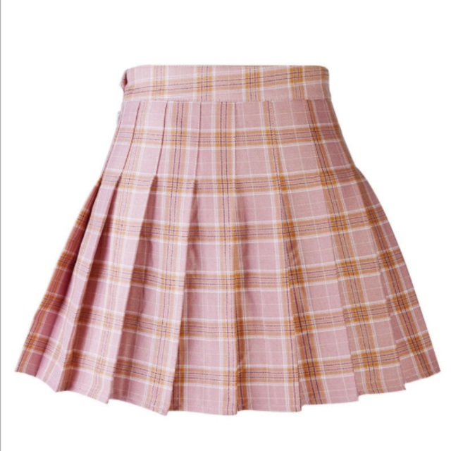 b05a11bca8 High Waist A-line School Skirt Plus Size Zipper Skater Casual Summer Women  Girls Plaid Pleated Skirt Uniform With Inner Shorts