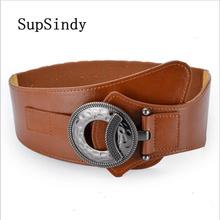 SupSindy Women s down Coat wide belt vintage metal buckle elastic luxury dress belt for