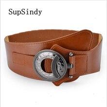 364f8bfc4fe SupSindy femmes bas manteau large ceinture vintage métal boucle élastique  luxe robe ceinture pour femmes cuir