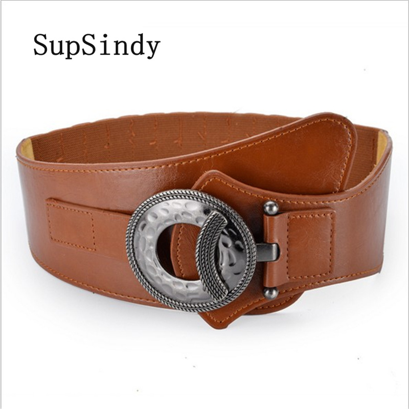 SupSindy Women's down Coat wide   belt   vintage metal buckle elastic luxury dress   belt   for women Black PU Leather Female Waistband