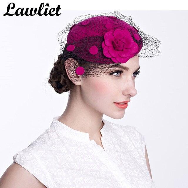 Hot Pink Las Hats Vintage Fascinator Wool Hair Pillbox Hat Rose Veil Tail Party Wedding