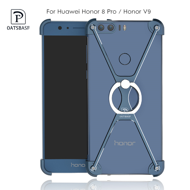 the latest 706fb fd469 US $10.79 10% OFF|For Huawei Honor 8 Pro Case Cover Oatsbasf Metal Frame  Border Stand Case Honor V8 / V9 Cover Protective Shield + Ring Holder-in ...