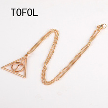 TOFOL Death Hallows Triangle Pendant Necklace European and American Film Original Same Style Luna. Lovegood Pendants Necklaces
