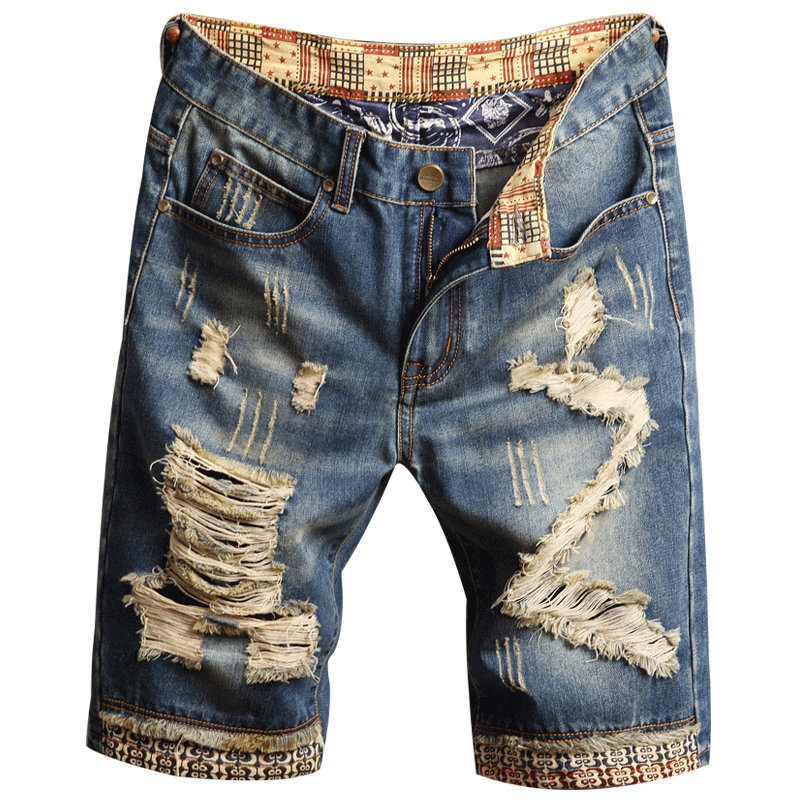 Denim Shorts Jeans Bermuda Ripped Male Breathable Mens New-Fashion Clothing Cotton Size-28-40