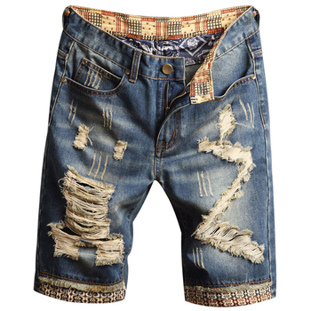 2019 Mens Ripped Short Jeans Clothing Bermuda Cotton Shorts Breathable Denim Shorts Male New Fashion Size 28-40