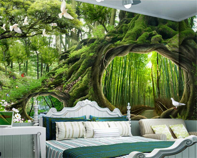 Beibehang Large High Quality 3d Wallpaper Magical Forest Tree Hole Cafe Childrens Room Backdrop