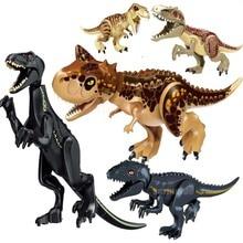лучшая цена Jurassic World 2 Building Blocks Legoings Dinosaurs Figures Bricks Tyrannosaurus Rex Indominus Rex I-Rex Assemble Kids Toys
