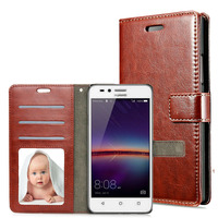 For Huawei Y3II Case Stand Card Slot Wallet Phone Cover PU Leather Case Luxury Photo Frame Flip Bags Retro For Huawei Y3 2