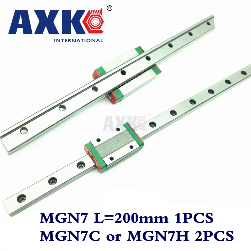 Cnc Router Parts AXK Linear Rail 1pc 7mm Width Linear Guide Rail 200mm Mgn7 + 2pc Mgn Mgn7c or NGN7H Blocks Carriage For Cnc axk mr12 miniature linear guide mgn12 long 400mm with a mgn12h length block for cnc parts free shipping