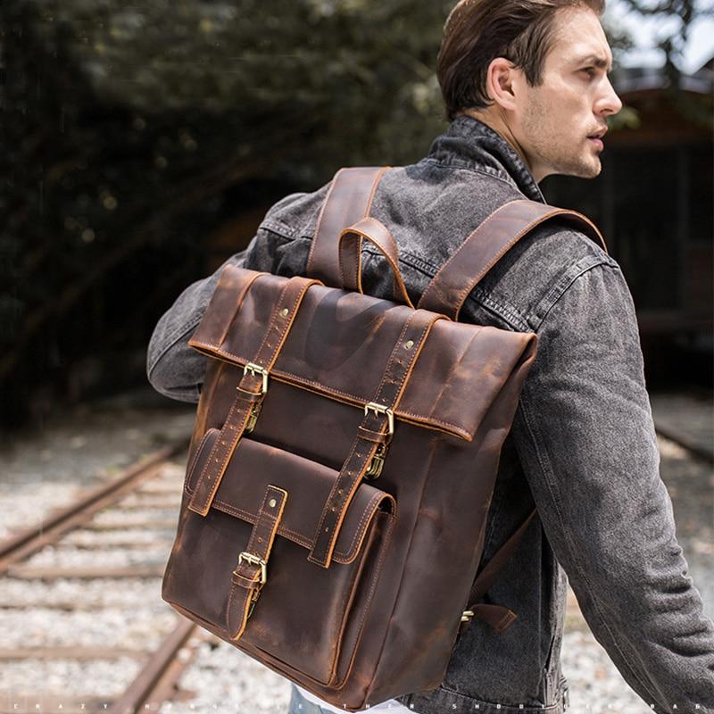 Big capacity men backpack vintage crazy horse genuine leather large 17 inch laptop travel backpack school