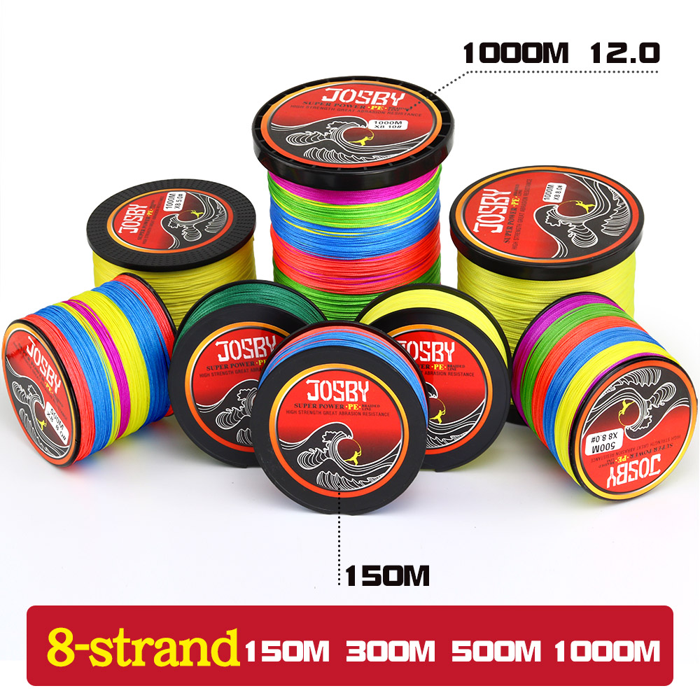 JOSBY 8 Strands 1000M 500M 300M 150M PE Braided Fishing Line tresse peche Saltwater Fishing Weave Superior Extreme Super Strong