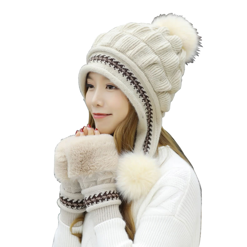 Women's Winter Hat & Gloves 2 Piece Set Cute Faux Fur Mitten Pompoms Thick Warm Knitting Cap For Girls Mitten Luxury Brand Sets