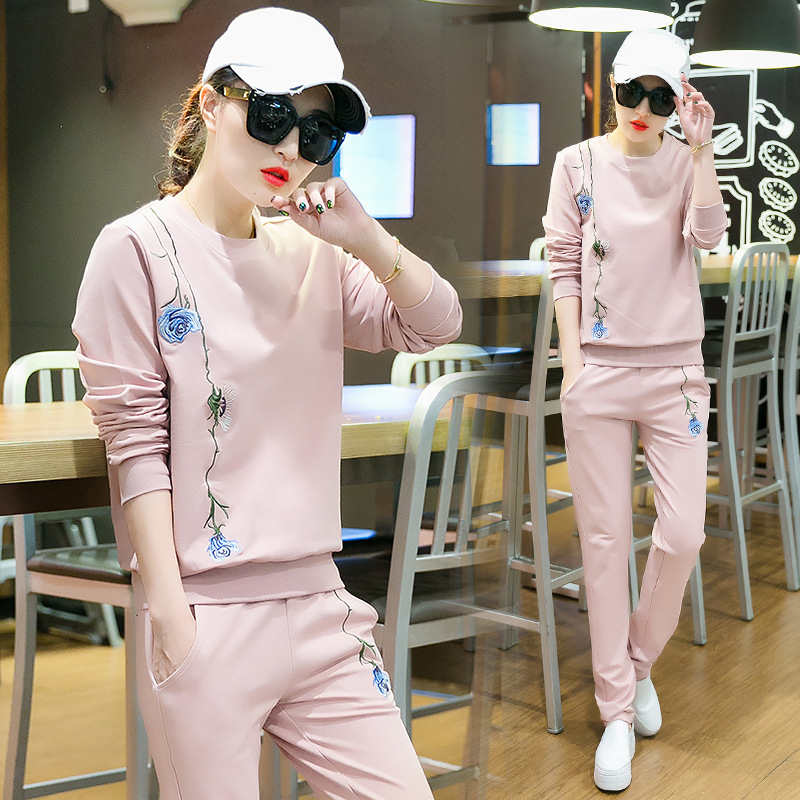 Tracksuit For Women Sports Suit 2 Piece Sets Women Sporting Suit Loose Embroidery Female Tracksuit Pants