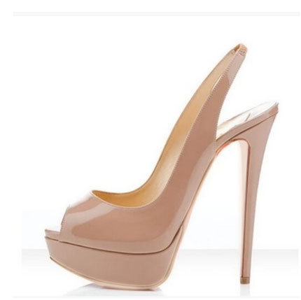255c0d503f8a Woman peep toe thin high heel platform sandals Sexy open toe high heel shoes  Ladies black nude summer dress shoes SIZE 36-42