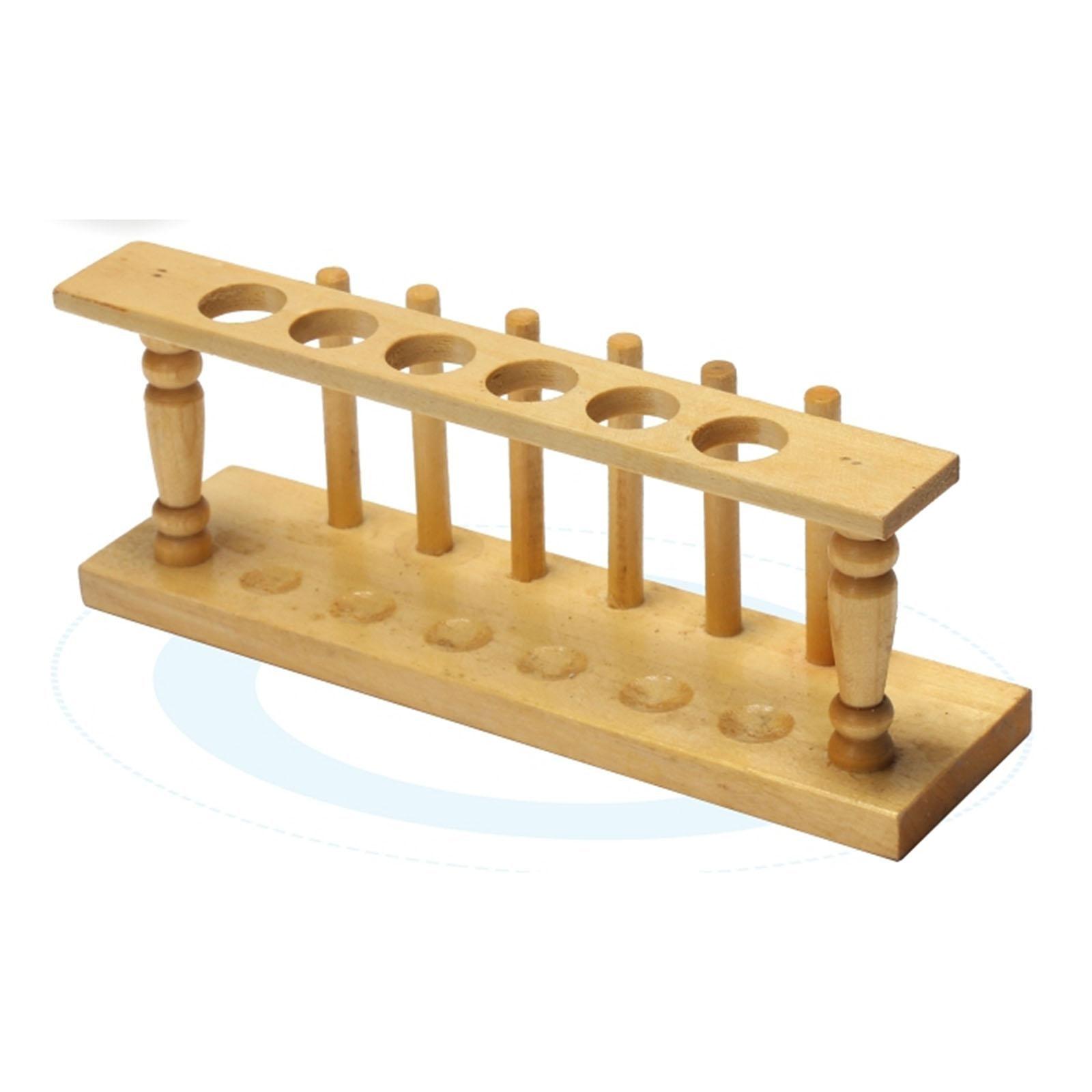 6 Holes 20mm Hole Diameter Lab Wooden Test Tube Storage Holder Bracket Rack With Stand Sticks