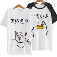 Anime Gintama Silver Soul Cosplay Costume T shirt Sadaharu Elizabeth Cosplay Acting Cute Pattern T-shirt Cotton Short Sleeve top