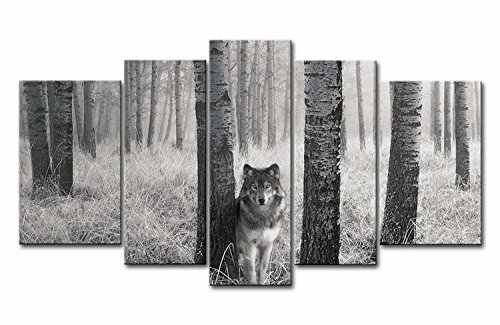 HD print 5 panel Quality High  Animal Canvas Painting Modern Wolf In Forest Gray Canvas Wall Paintings