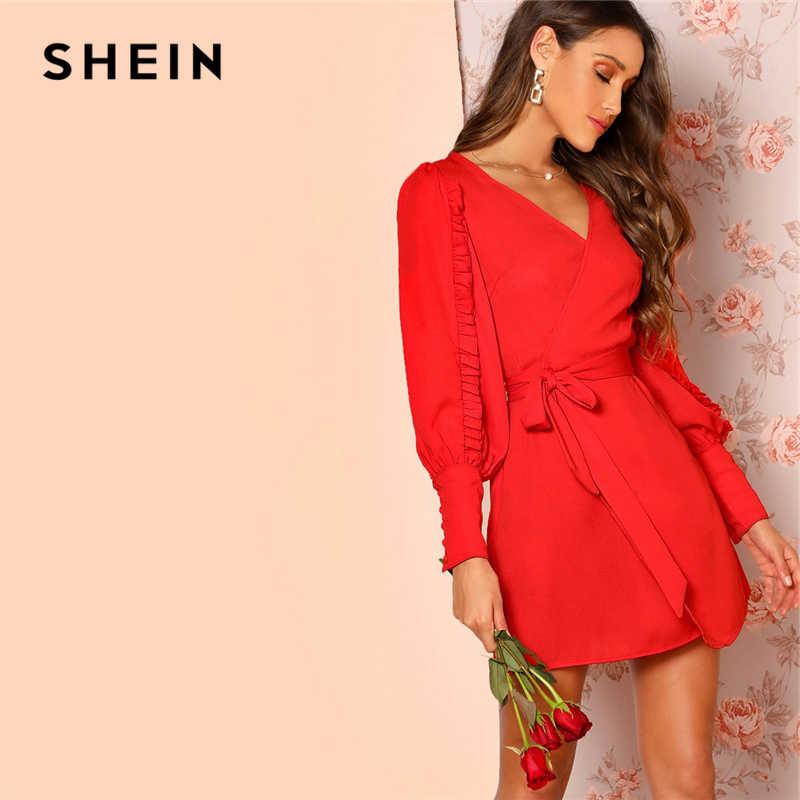 84a1284644f4b SHEIN Black Asymmetric Shoulder Wrap Dress Party Sheath Short A Line ...